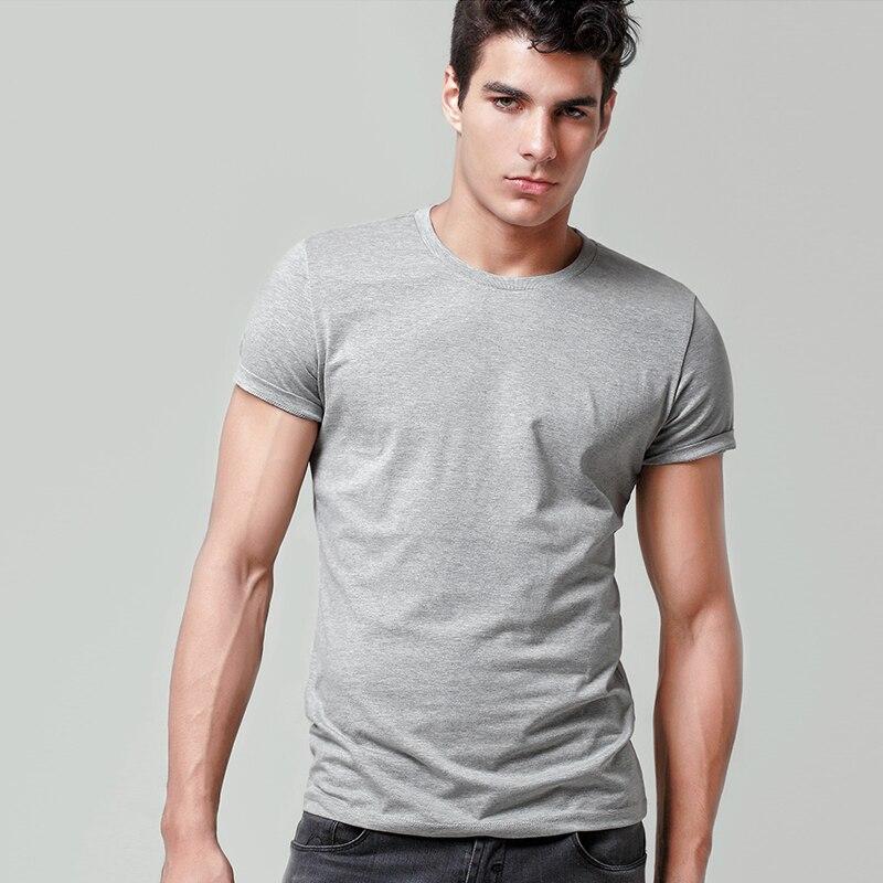 Men's Cotton T-shirt Solid Color Men's Top Fashion T Shirt 2019 Brand New Menswear Plain Off White Black Undertale TOPS Loose(China)