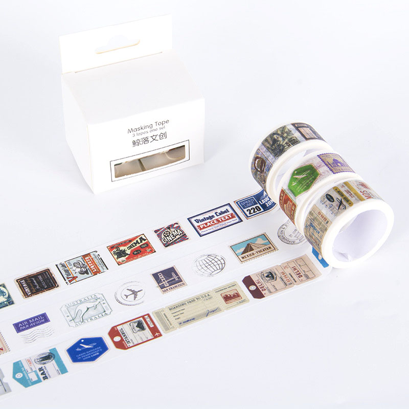 3 Pcs/pack Retro Stamp Bullet Journal Washi Tape Cute Adhesive Tape DIY Scrapbooking Stickers Stationery Label Masking Tapes