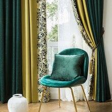 Индивидуальная Красивая занавеска для гостиной затемненная занавеска s для спальни вышивка белый тюль Ретро зеленый желтый портьеры скандинавские