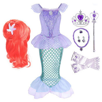 Girl Princess Little Mermaid Ariel Dress Kids Halloween Fancy Costume Children Carnival Birthday Party Clothes Summer Up
