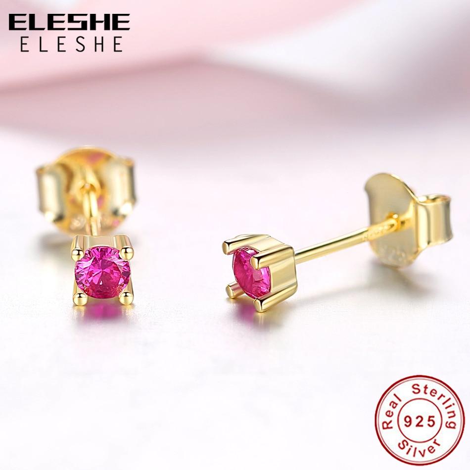ELESHE Cubic Zirconia Crystal Small Stud Earrings For Women Luxury 925 Sterling Silver Earrings Wedding Yellow Gold Jewelry Gift in Stud Earrings from Jewelry Accessories