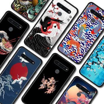 Czarny miękki etui na LG K40 K40s K41s K50s K51s K61 G6 G7 G8 ThinQ Q51 Q60 Q61 Q70 pokrywa styl japoński sztuki japonii obudowa na telefon tanie i dobre opinie CN (pochodzenie) Aneks Skrzynki TPU Soft Phone Case Matowy Zwierząt Jednorożec Floral Marmur W stylu rysunkowym Odporna na brud