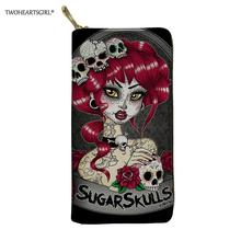 Twoheartsgirl Skull Gothic Girl Printed Women Wallets Fashion Female Ladies Leather Credit Card Holders Long Coin Purse