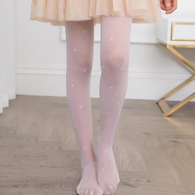 Summer Children Girls Tights Pantyhose Girls Anti-hook Silk Jacquard Ultra-thin White Stockings High Quality Kids Dance Tights