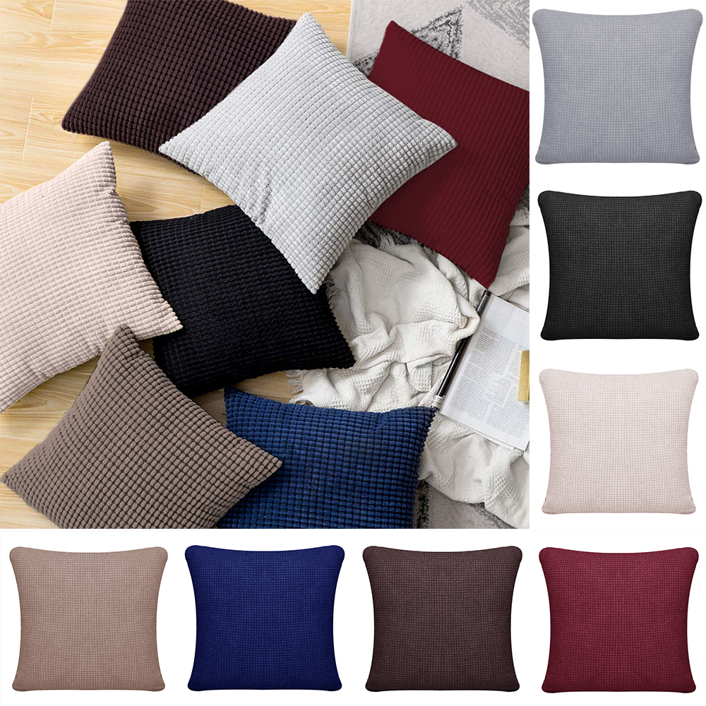 Solid Color Cushion Cover Waterproof Plaid Printed Pillow Case Home Fall Pillow Cover For Living Room Sofa Car almofada image