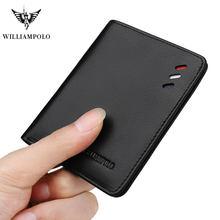 Williampolo carteira masculina de couro legítimo, carteira masculina compacta com dobra central e compartimento para cartões, preta e marrom