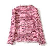 Quality Autumn Vintage High Pink Jackets Coat Women Tweed Overcoat Tassel Long Sleeve Slim Jacket Tops Female Outwear