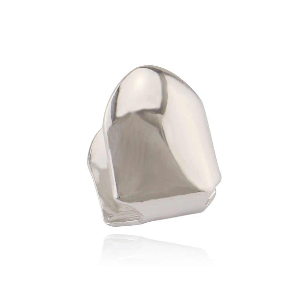 1 adet 14k altın kaplama Hip Hop diş Grillz Caps üst veya alt ızgara yanlış diş beyazlatma altın kaplama küçük tek diş kap