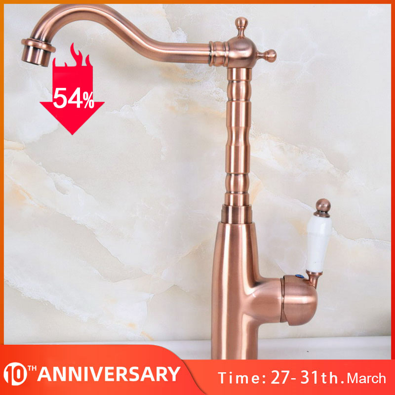 Antique Red Copper Swivel Kitchen Faucet Single Handle Kitchen Sink Faucet Deck Mounted Single Hole Faucets Mixer Tap Knf637