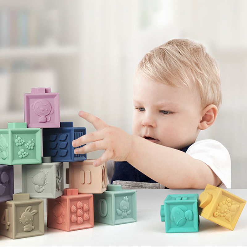 Baby Duploed soft rubber Building Blocks Bath Grasp ToysTouch Hand Teethers Blocks DIY Rubber Block Toy for Children Gift Early