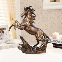 Antique Copper Eco friendly Resin Figurines Livingh Room Decoration Ornament Lucky Mascot Home Decoration Horse Figurine Crafts