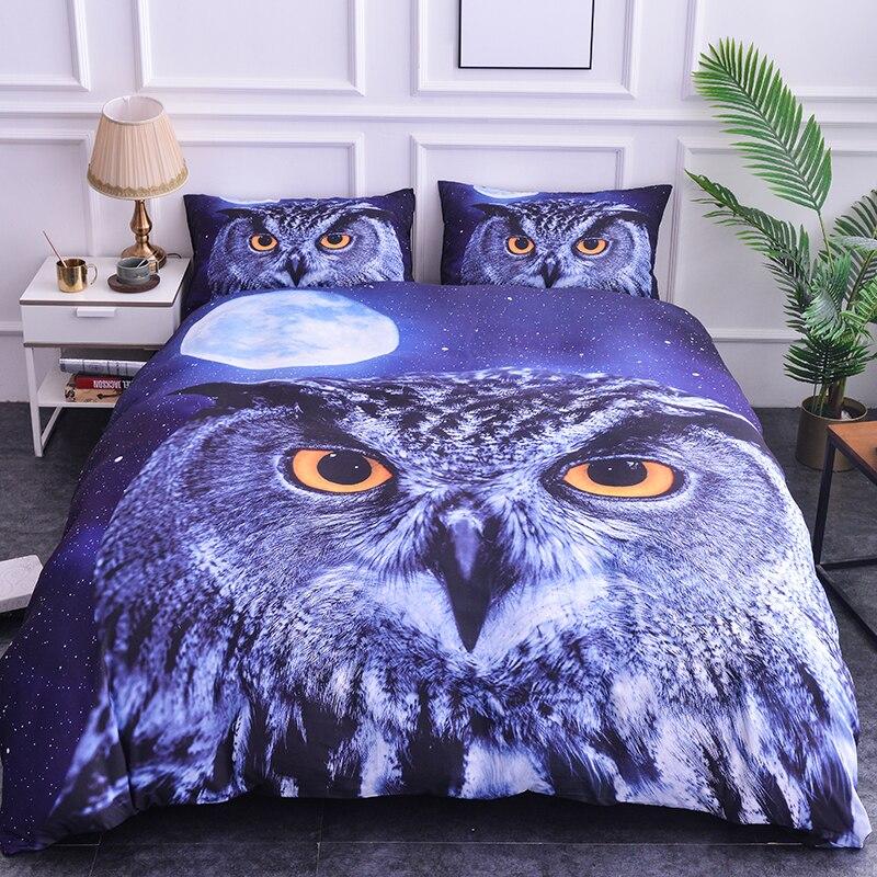Owl Pattern 3D Bedding Set Blue Duvet Cover Quilt Comforter Sets Pillowcase Bedding Sets Single/Twin/Full/Queen/King/Double Size