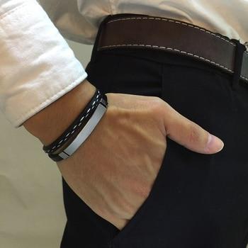 Bracelets en cuir véritable barre en acier 1
