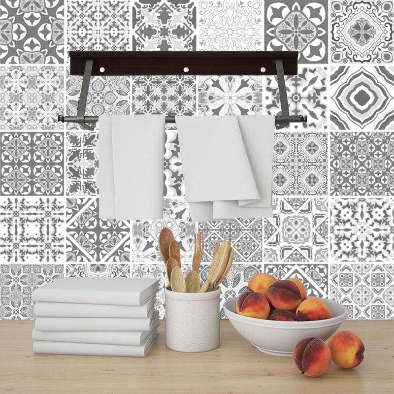 Gris Arabi motif ornement Floral carreaux de céramique autocollant mural escalier cuisine décor à la maison stickers muraux Peel & Stick Art papier peint
