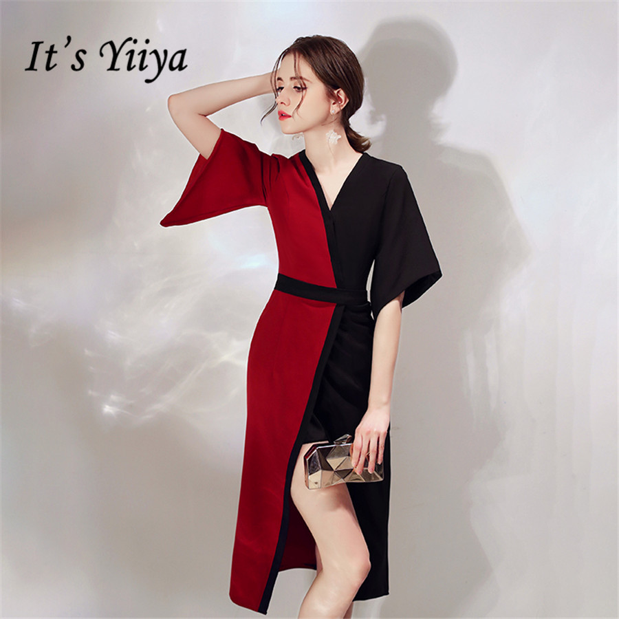 It's Yiiya Cocktail Dress Black Red Contrast Party Dresses V-neck Elegant Formal Dresses Half Sleeve Robe Cocktail E1367