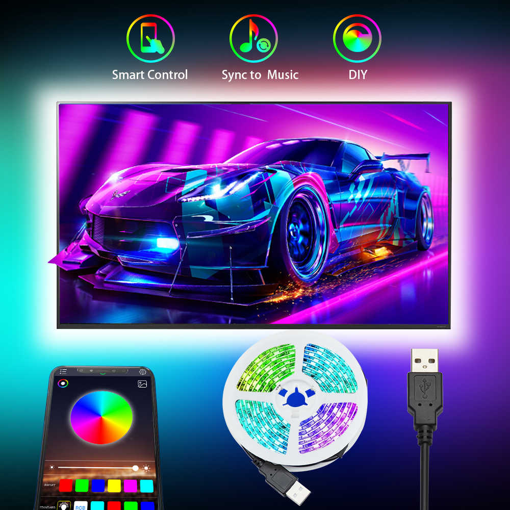 Lampu Led Strip RGB 5050SMD DC 5V Pita Fleksibel 2835SMD 1M 2M 3M Pita Dioda USB lampu Strip Led Bluetooth Musik TV Backlight
