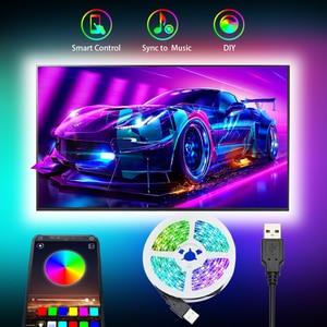 Led Strip Light RGB 5050SMD DC 5V Flexible Ribbon 2835SMD 1M 2M 3M Tape Diode USB Led Strip Lamp Bluetooth Music TV Backlight