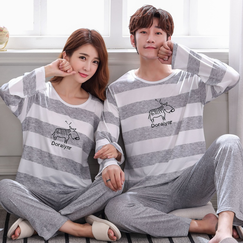 Autumn Winter Pajamas For Couples Sleepwear Set Lovers Stripe Printing Long Sleeved Pyjamas For Men Women Fashion Pijamas Suit