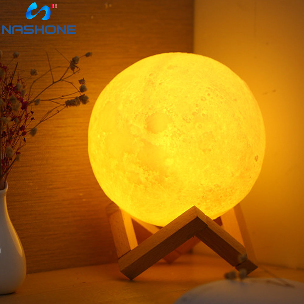 Nashone 16 Colors 3D Print Moon Lamp Colorful Change Touch USB LED Night Light  Remote LED Moon Light Home Decor Creative Gift