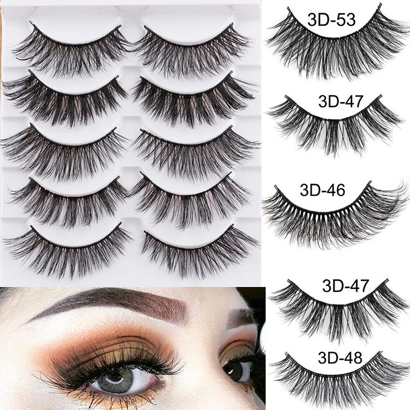 5Pairs 3D Faux Mink Hair False Eyelashes Extension Wispy Fluffy Think Lashes Makeup Extension Tools