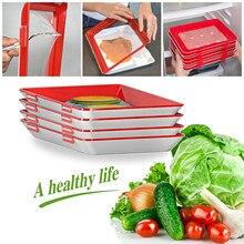 Recipiente de armazenamento de alimentos reutilizável bandeja de armazenamento de alimentos reutilizável bandeja de preservação de alimentos criativos comida empilhável bandeja fresca mágica