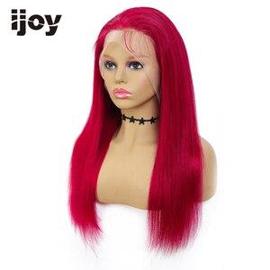 Image 4 - 4X13 dantel ön İnsan saç peruk renkli düz peruk kahverengi bordo brezilyalı saç kadınlar için peruk ön koparıp peruk olmayan remy IJOY
