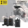 XTUGA X-CM012 UHF двойной беспроводной петличный микрофон, микрофон для камеры, УВЧ микрофон для лацканов с 16 выбираемыми каналами, диапазон до фут...