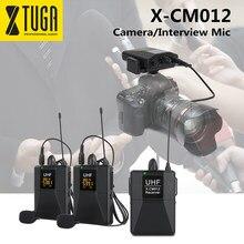 Xtuga X-CM012 uhf duplo sem fio microfone de lavalier, câmera mic, sistema de microfone de lapela uhf com 16 canais selecionáveis até 164ft gama