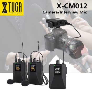 XTUGA X-CM012 UHF Dual Wireless Lavalier Microphone,Camera Mic,UHF Lapel Mic System with 16 Selectable Channel Up to 164ft Range xtuga uhf wireless lavalier lapel microphone system live recording mic with rechargeable transmitter