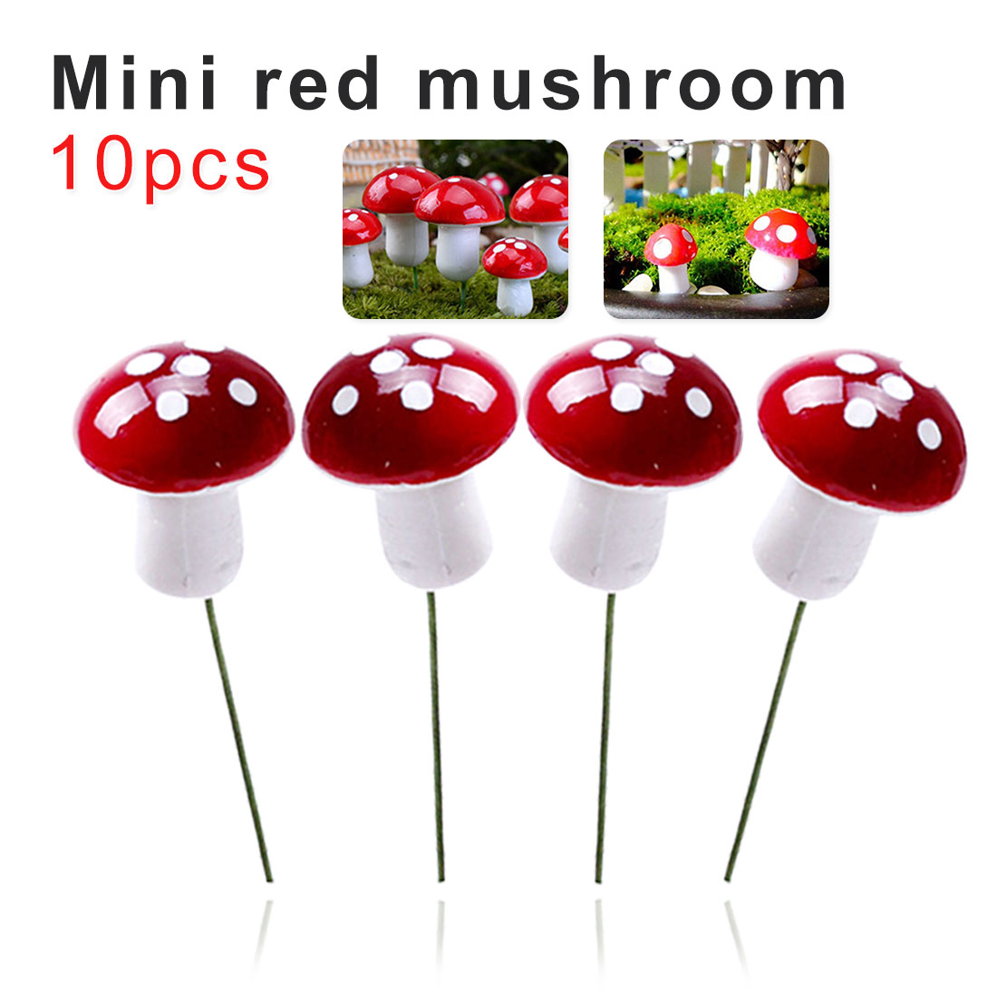 New 10Pcs Mini Foam Red Mushroom Garden Ornament Miniature Plant Pots Fairy DIY Dollhouse