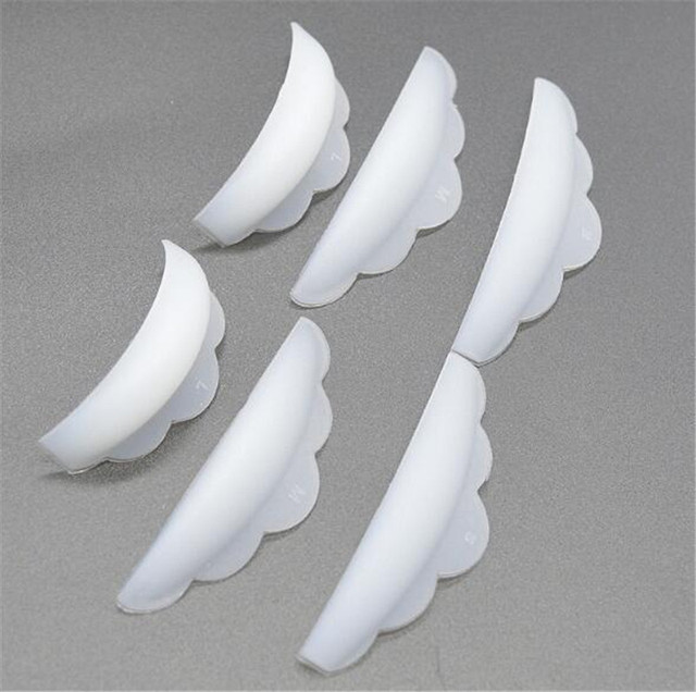 New 200pcs/lot 6Pcs set Silicone Eyelash Perming Curlers Curl Lash Lift Rods Makeup Tool Lash Lifting Shield Pads Rods Extension