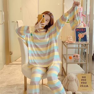 Image 3 - Winter Women Cute Flannel Pajamas Set Cartoon Little Yellow Duck O Neck Sleepwear Thickened Warm Cotton Pyjamas Home Clothing