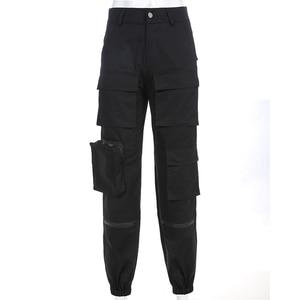Image 4 - SweetownสีดำCargoกางเกงแฟชั่นผู้หญิง 2020 กระเป๋าPatchwork HippieกางเกงปลอมซิปทอเอวStreetwearกางเกง