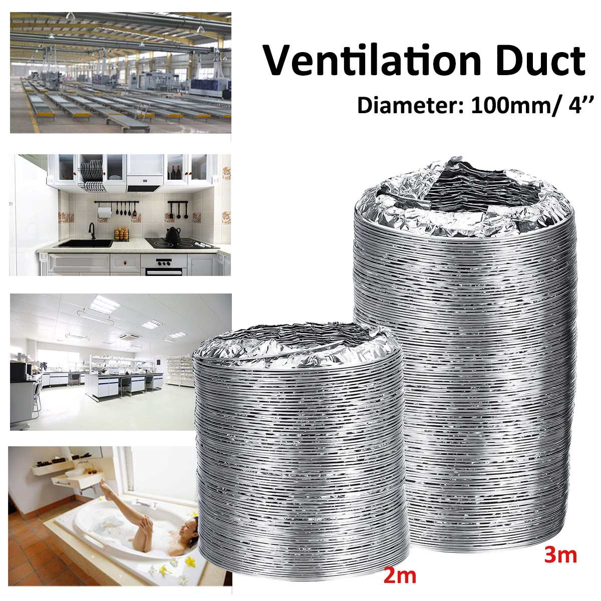 4inch Ventilator Pipe 100mm PVC Aluminum Tube Air Ventilation Pipe Hose Flexible Exhaust Duct 3/2M Air System Vent Bathroom