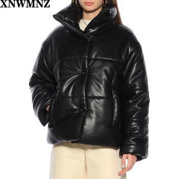 XNWMNZ Za Solid PU Leather Parkas Women Fashion High Imitation Leather Coats Women Elegant Thick Cotton Jackets Female Ladies 2020 pu leather parkas women fashion hooded faux leather coats women elegant zipper cotton jackets female ladies clothing c20