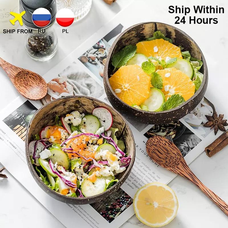 Coconut-Bowl Decoration Salad Handicraft Noodle Wooden Creative Natural