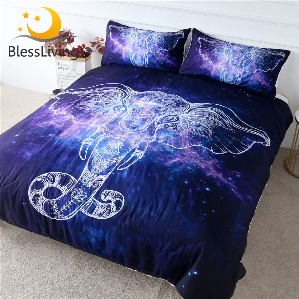 BlessLiving Elephant Bedding Set Galaxy Nebula Blue Quilt Cover Ethnic God Duvet Cover Boho Mandala Bed Set King Dropship