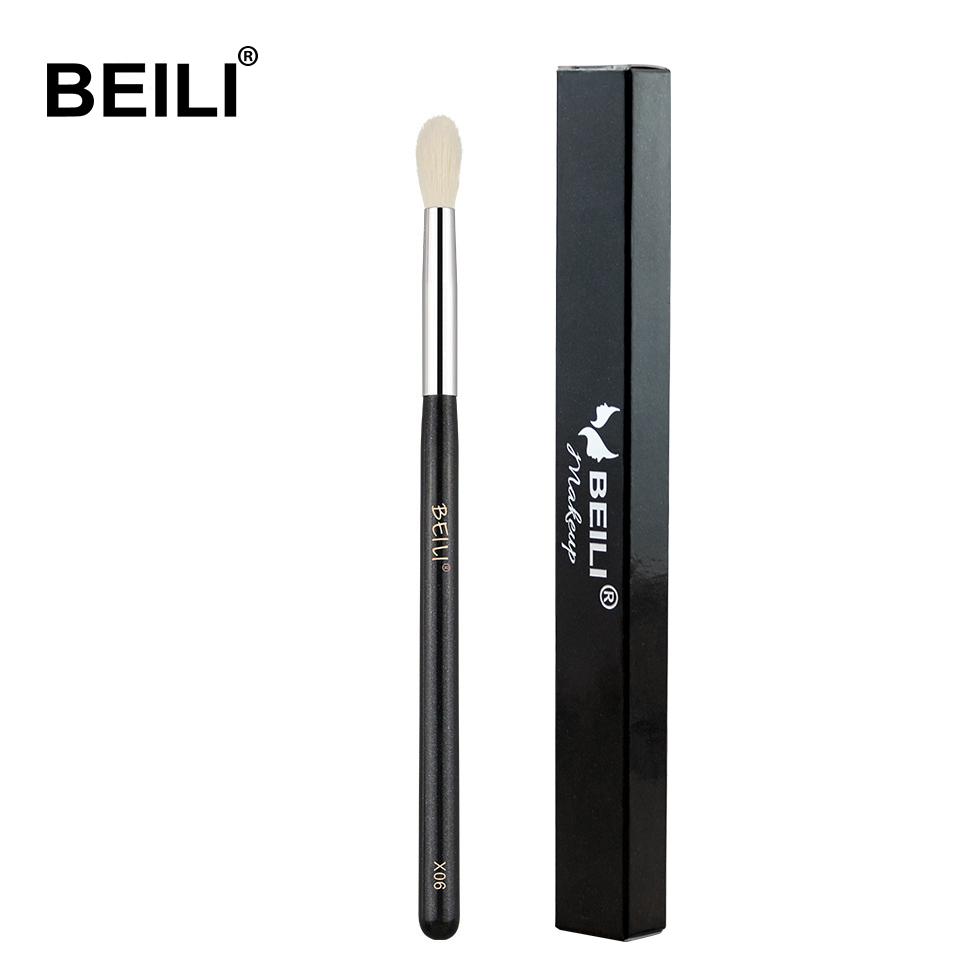 BEILI X06/X04/X08 Black Eye Shadow Tampered Blending Brush Natural White Goat Hair Makeup Brushes Box Packing Single Eye Brushes