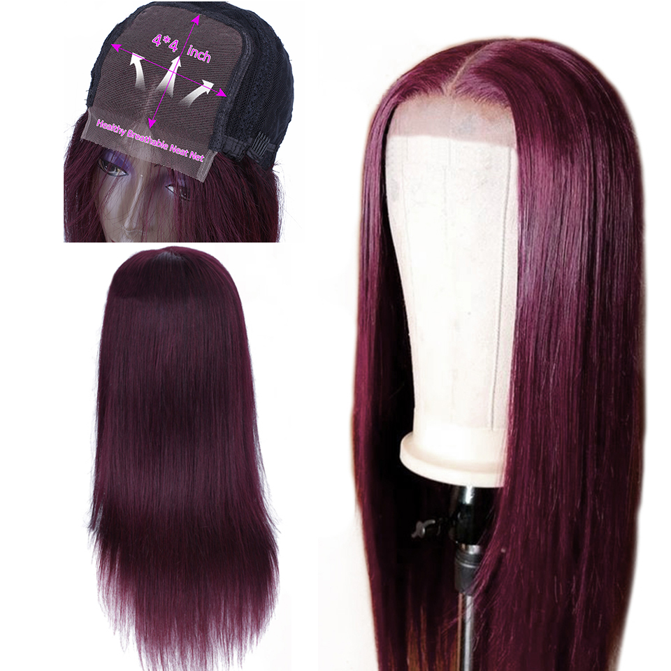 Soph Queen 4*4 Lace Closure Wig 99J Brazlian Remy Straight Lace Closure Human Hair Wigs For Black Women Ombre Human Hair Wigs