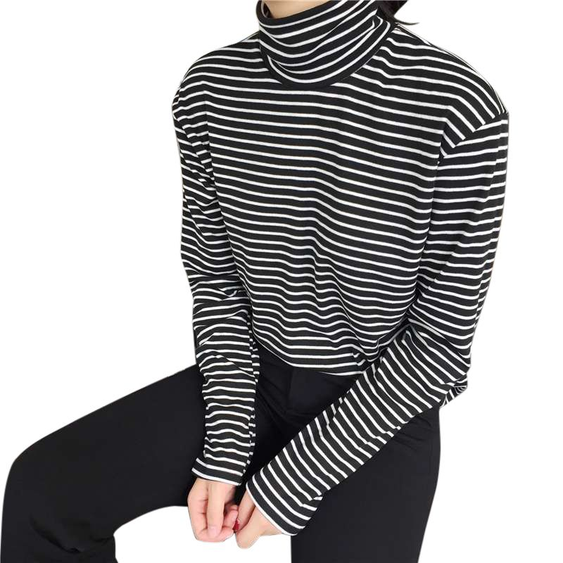 Women Turtleneck Korean Style T Shirt Harajuku Top Long Sleeved Striped Tops Female T-shirt Casual Tops футболка женская