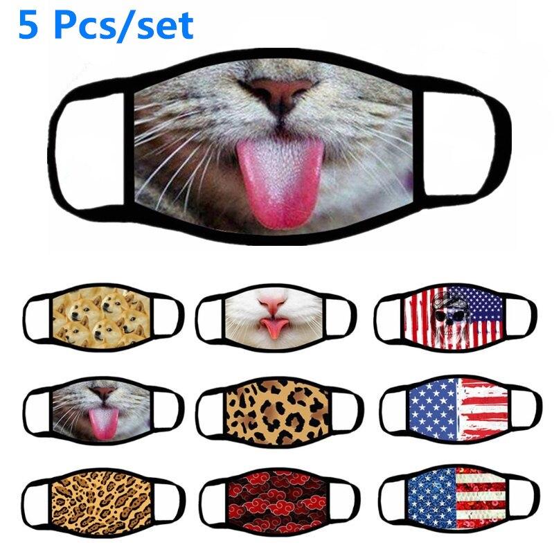 5 шт. Милая 3D печать кошки Флаг США моющаяся хлопковая маска для лица ветрозащитная многоразовая Пылезащитная маска для рта для взрослых унисекс|Женские маски|   | АлиЭкспресс