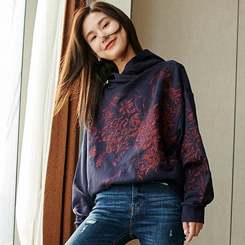 Женская толстовка с вышивкой, свободные махровые джемперы с длинными рукавами, повседневные однотонные весенне осенние джемперы