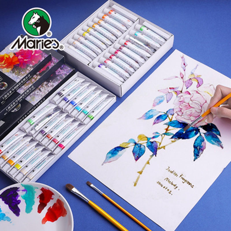 Marie's Art Watercolor Gouache Paint Set 12/18/24/36 Colors 5ML/12ML Tube Strong Coverage Non-toxic Colored Pigment For Beginner