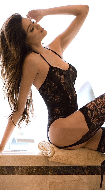 Ensemble Sexy Lingerie ouvert bas jarretière collants résille