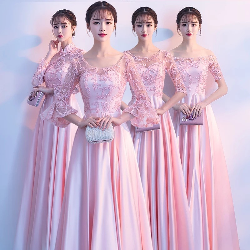 Bridesmaid Serve Long Fund 2019 Autumn Show Lanky Sleeve Sisters Group Show Graduation Full Dress Skirt Woman Self-cultivation