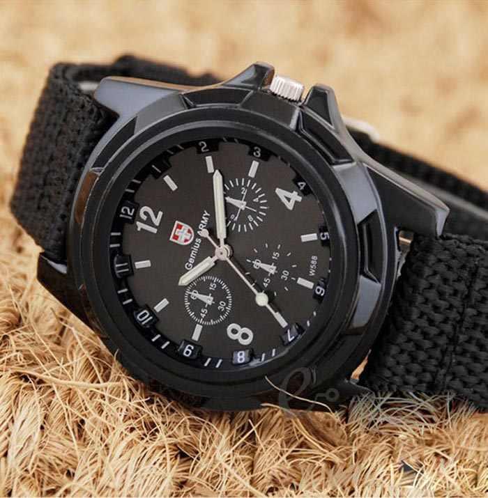 Gemius Balap Tentara Militer Angkatan Olahraga Pria Kain Band Watch Hitam Kuarsa Outdoor Jam Tangan Klasik Watch Hadiah Mewah