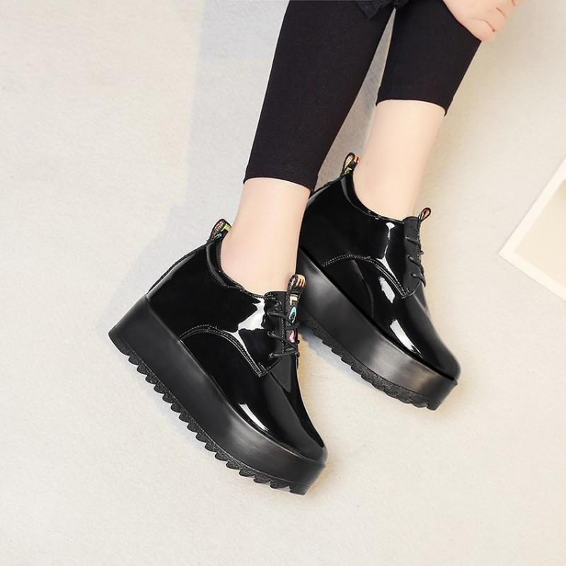European Style Casual Increase Small Leather Shoes Female British Wind New Spring Thick Bottom Platform Single Shoes Z15-30