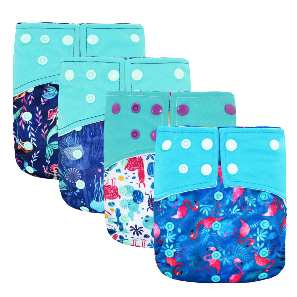 Baby Suede Cloth Waterproof Pocket Diaper, Washable Breathable Reusable Nappy,S M& L Adjustable, Fit 5-15kg Baby
