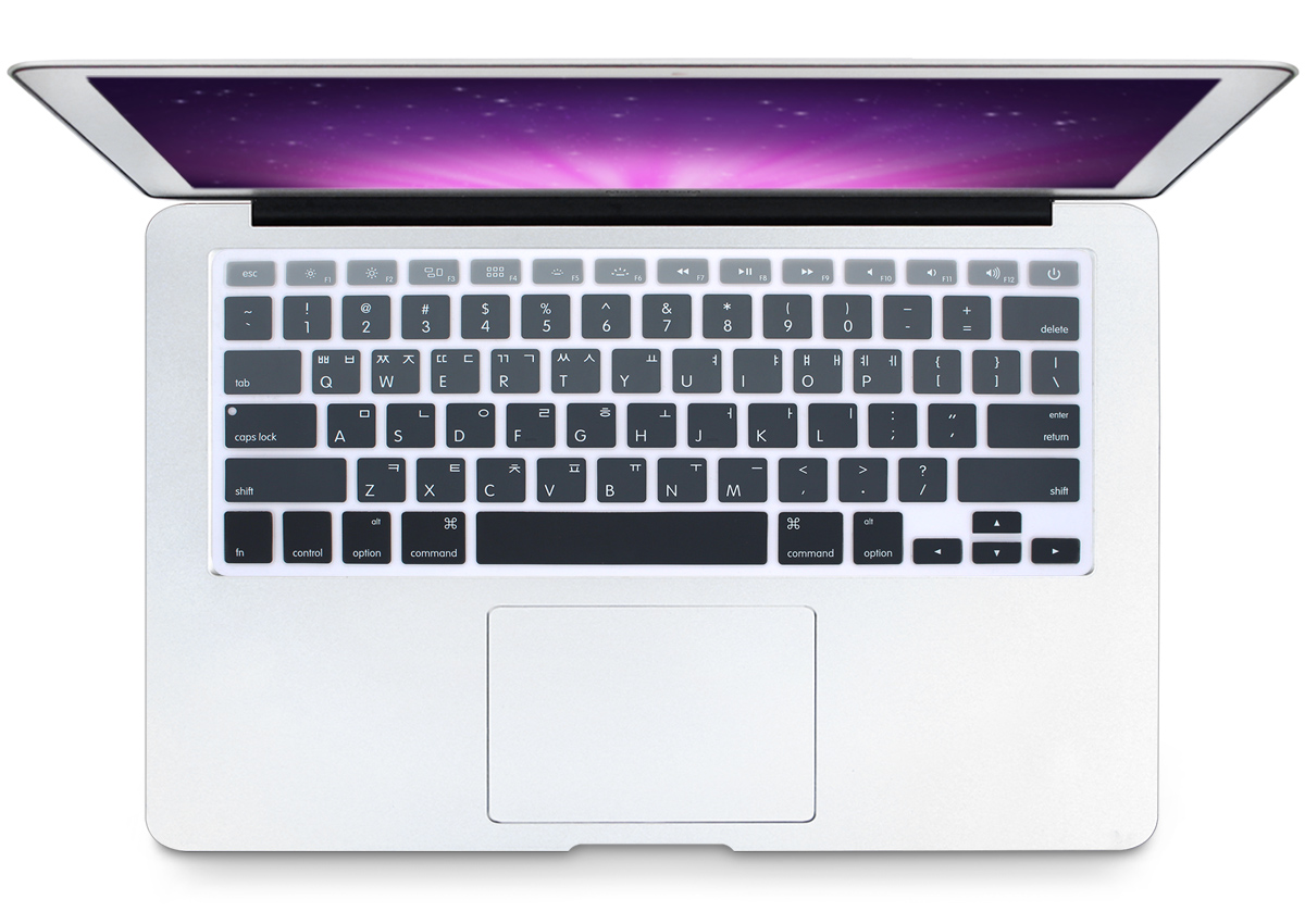 Korean Language Silicone Keyboard Cover Skin for MacBook Newest Air 13 Inch 2018 Release-Ombre Black