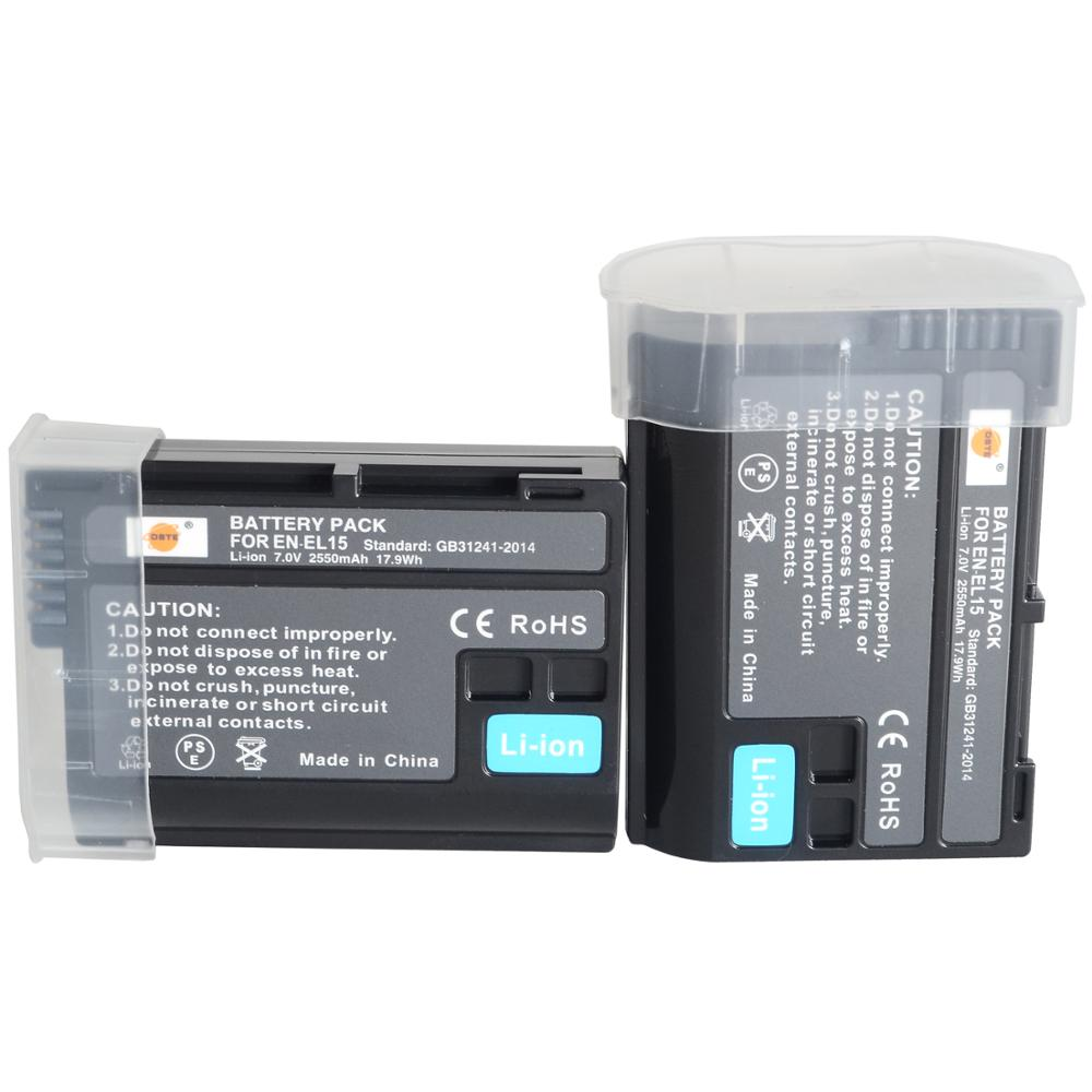 Сменный литий-ионный аккумулятор DTE, совместимый с Nikon 1 V1, Z6, Z7, D500, D600, D800, D850, D800E, D810A, D750, D7000, D7100, D7200